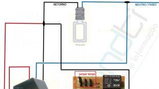 Sensor de presen�a + interruptor + placa luz de garagem