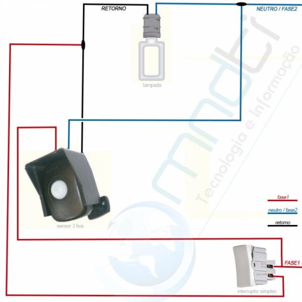 Sensor de presença com interruptor simples / paralelo