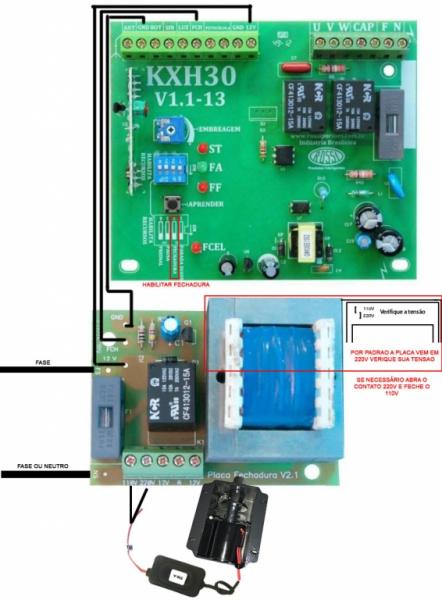 Trava Eletromagnética - Placa fechadura e temporizador